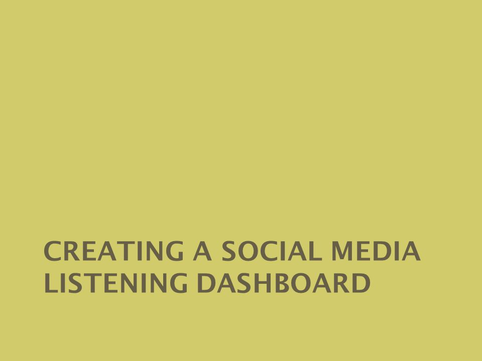 CREATING A SOCIAL MEDIA LISTENING DASHBOARD
