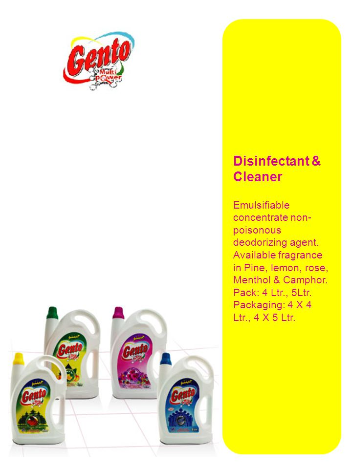 Disinfectant & Cleaner Emulsifiable concentrate non- poisonous deodorizing agent.