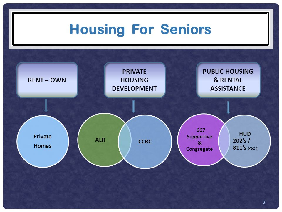 Housing For Seniors 3 RENT – OWN PRIVATE HOUSING DEVELOPMENT PUBLIC HOUSING & RENTAL ASSISTANCE Private Homes 667 Supportive & Congregate HUD 202's / 811's (<62 ) ALR CCRC