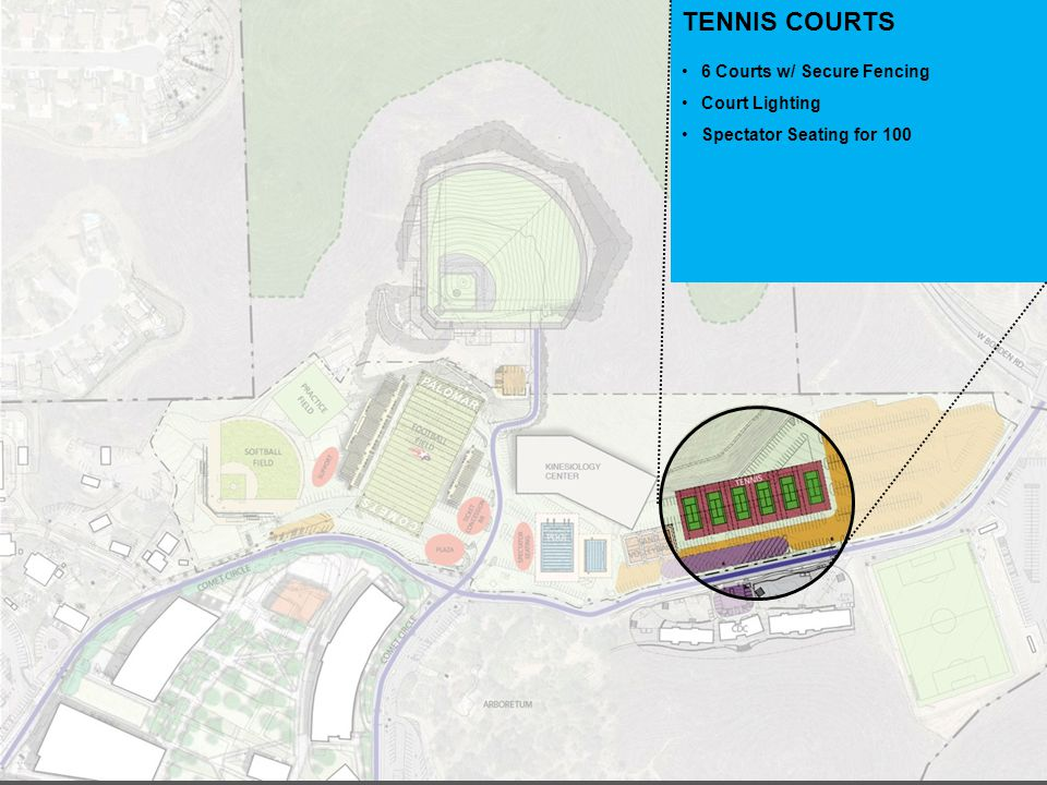 TENNIS COURTS 6 Courts w/ Secure Fencing Court Lighting Spectator Seating for 100