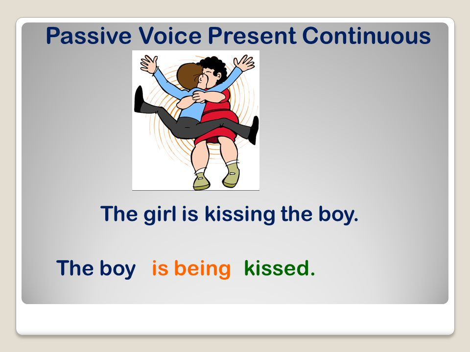 Passive Voice Present Continuous The girl is kissing the boy. The boyis beingkissed.