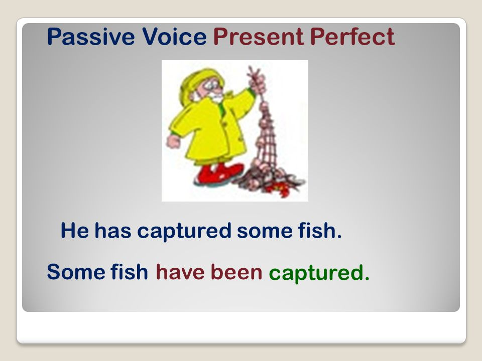 Passive Voice Present Perfect He has captured some fish. Some fishhave been captured.