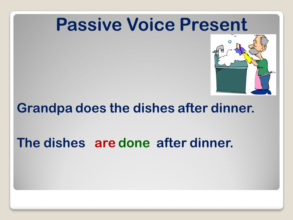Passive Voice Present Grandpa does the dishes after dinner. The dishesaredoneafter dinner.