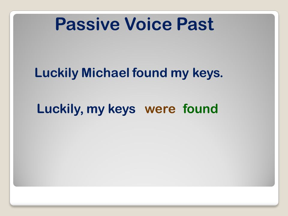 Passive Voice Present Perfect He has found many bees. Many beeshave been found.