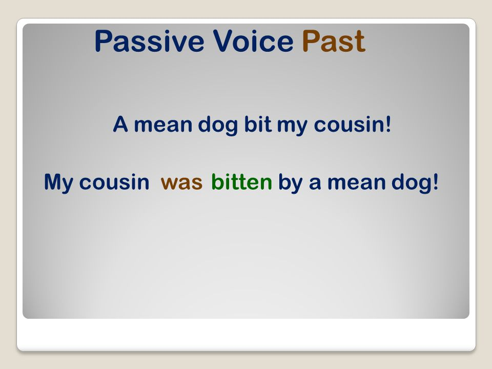 Passive Voice Present Perfect The boy has bathed his dog. His doghas beenbathed.