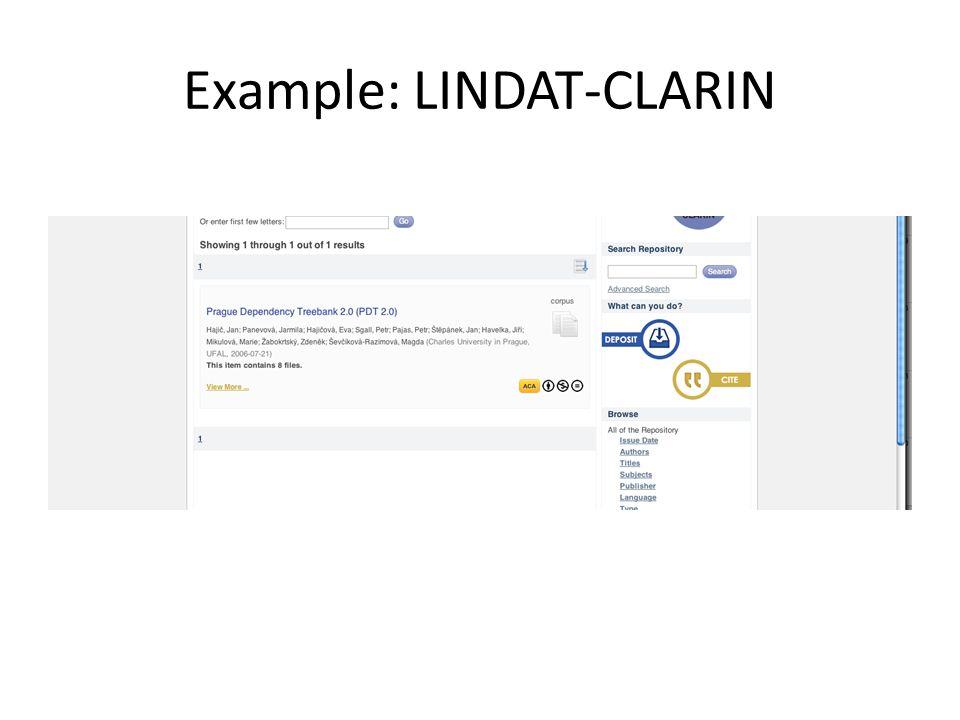 Example: LINDAT-CLARIN