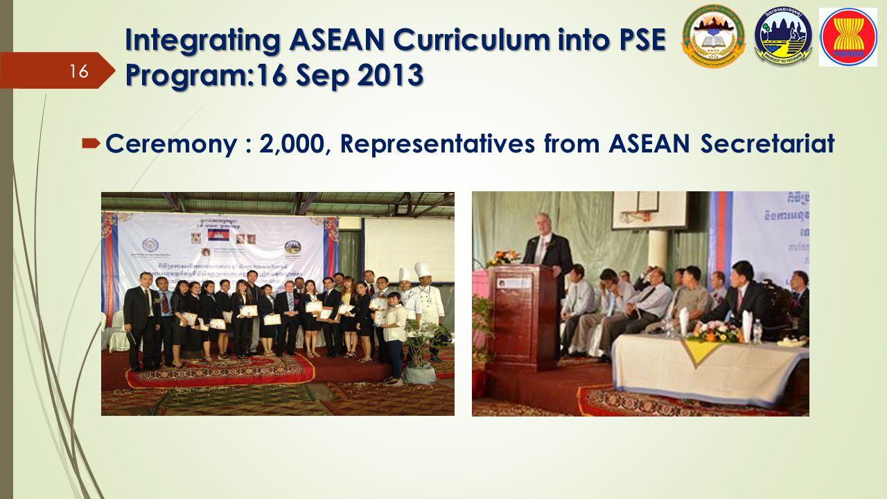  Ceremony : 2,000, Representatives from ASEAN Secretariat Integrating ASEAN Curriculum into PSE Program:16 Sep 2013 16