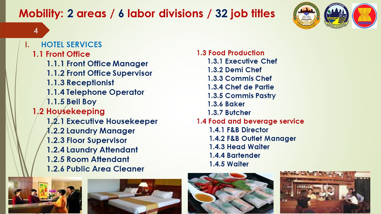 Mobility: 2 areas / 6 labor divisions / 32 job titles 2.