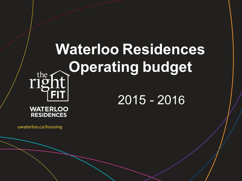 Waterloo Residences Operating budget 2015 - 20 16