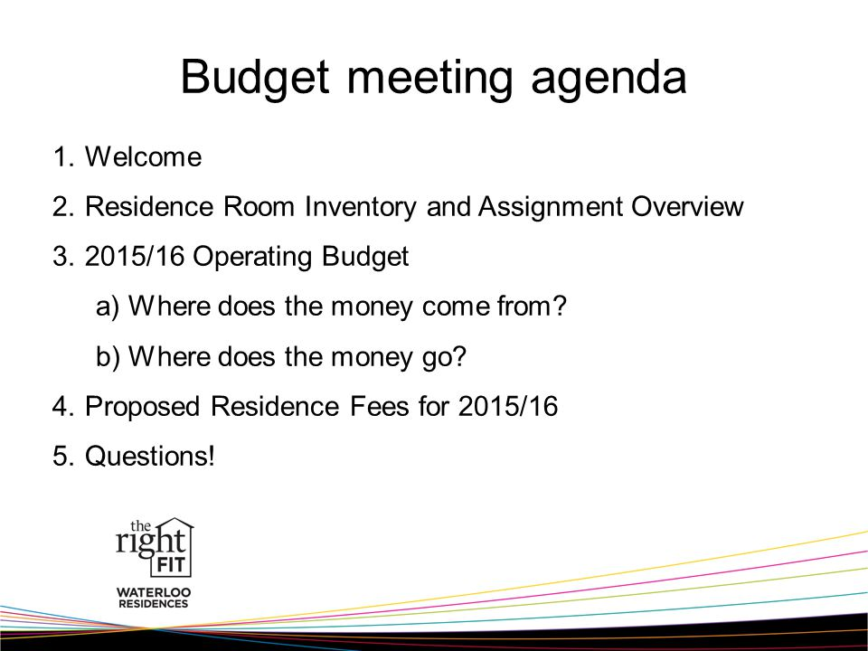 Budget meeting agenda 1.Welcome 2.Residence Room Inventory and Assignment Overview 3.2015/16 Operating Budget a)Where does the money come from.