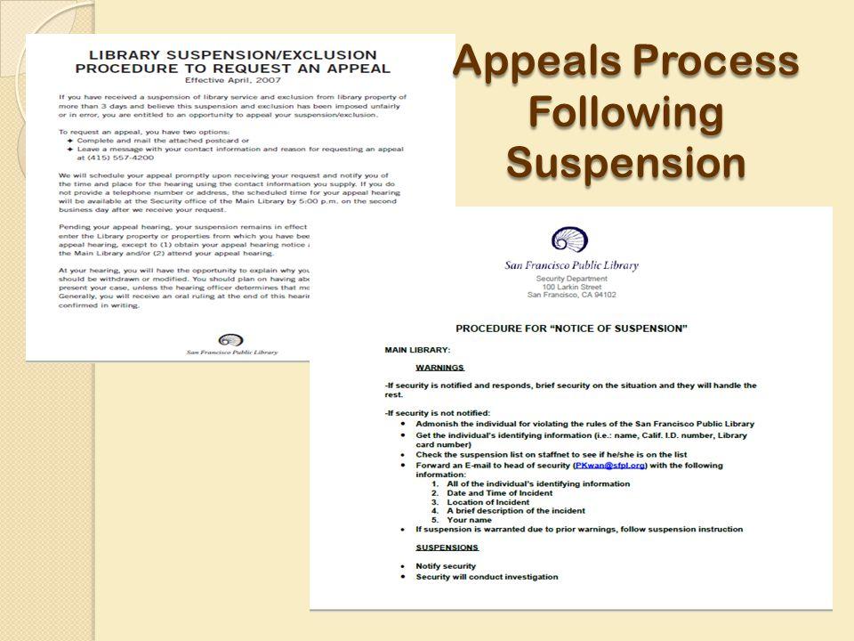 Appeals Process Following Suspension
