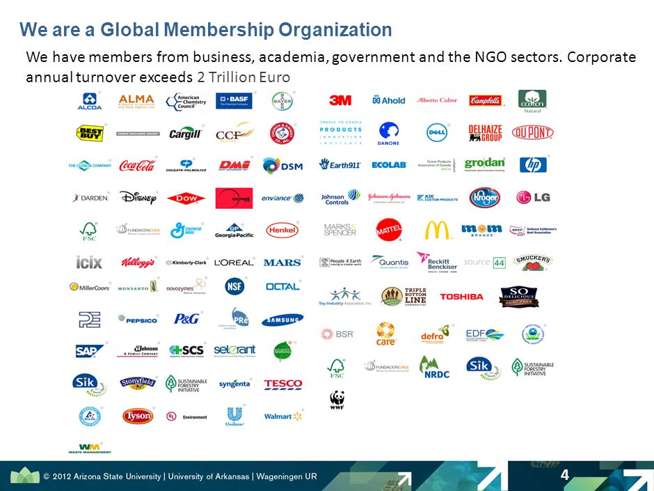 We are a Global Membership Organization 4 We have members from business, academia, government and the NGO sectors.