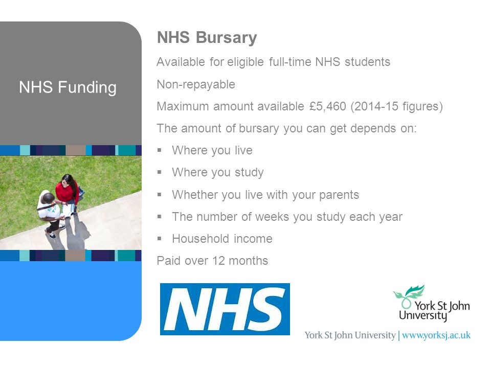 NHS Funding NHS Bursary Available for eligible full-time NHS students Non-repayable Maximum amount available £5,460 ( figures) The amount of bursary you can get depends on:  Where you live  Where you study  Whether you live with your parents  The number of weeks you study each year  Household income Paid over 12 months