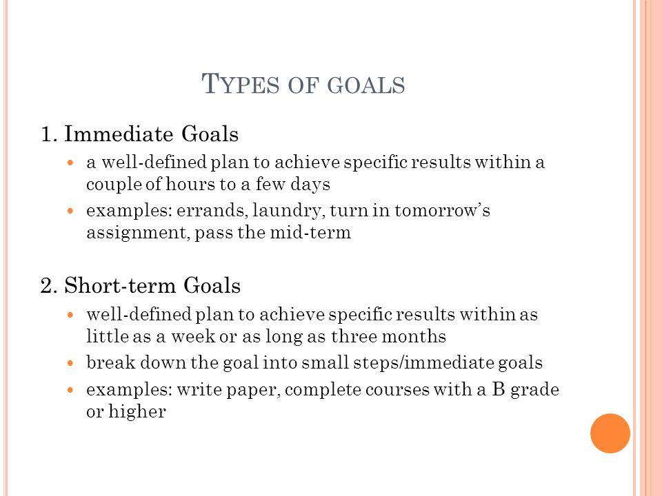 T YPES OF GOALS 1.