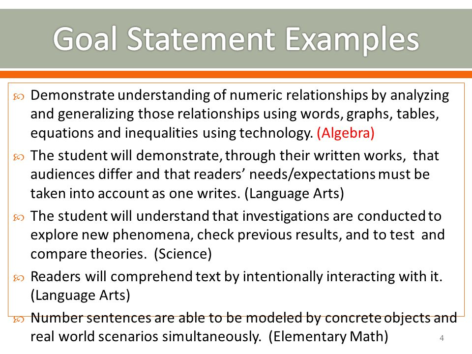  The standards that most directly apply and connect to the goal.