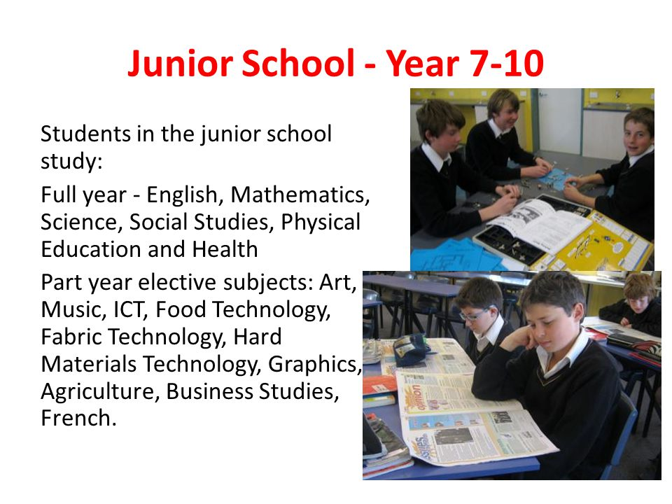 Junior School - Year 7-10 Students in the junior school study: Full year - English, Mathematics, Science, Social Studies, Physical Education and Health Part year elective subjects: Art, Music, ICT, Food Technology, Fabric Technology, Hard Materials Technology, Graphics, Agriculture, Business Studies, French.
