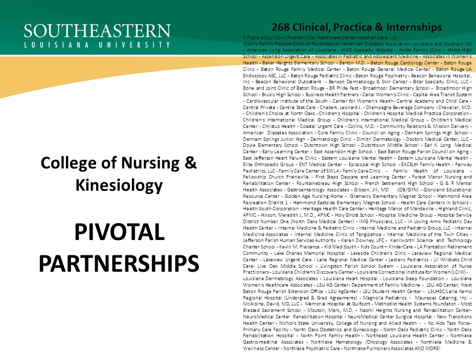 PIVOTAL PARTNERSHIPS College of Nursing & Kinesiology 268 Clinical, Practica & Internships A Place of our Own/Pediatric Day Healthcare Center- Acadian Care, LLC - Allen s Family Practice Clinic of Ponchatoula - American Diabetes Association- Louisiana and Southern MS - American Lung Association of Louisiana - AMG Specialty Hospital - Amite Family Clinic - Amite High School - Ascension Urgent Care - Associates in Pediatric and Adolescent Medicine - Associates in Women s Health - Baker Heights Elementary School - Barton M.D.