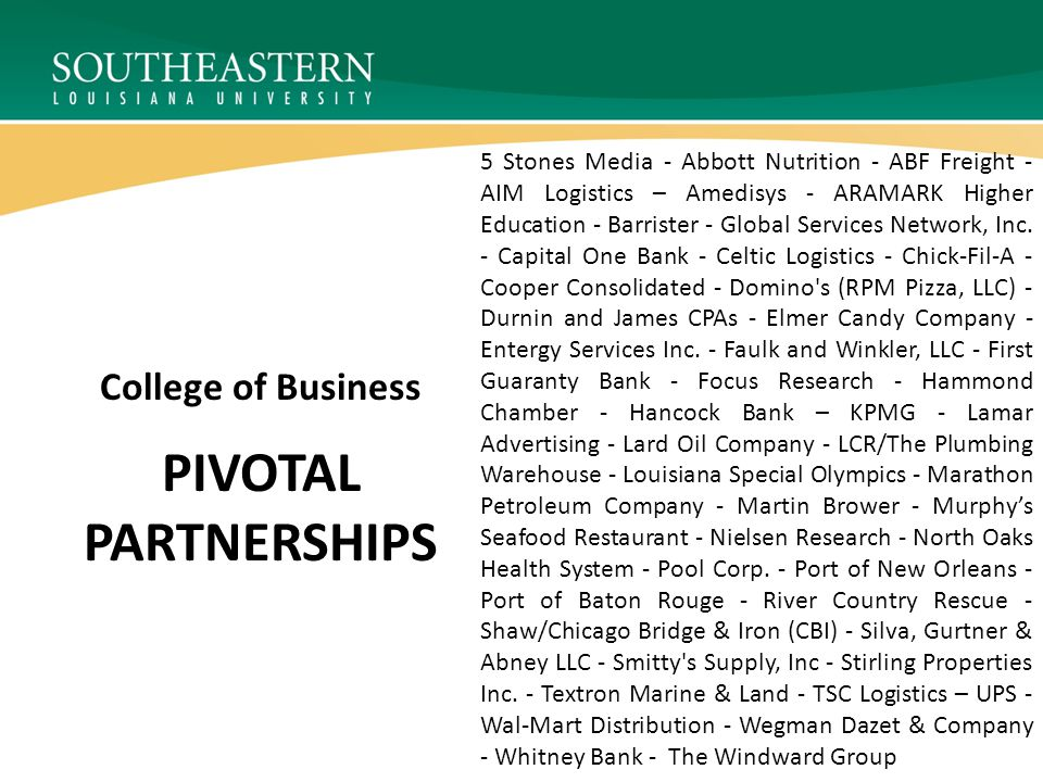 PIVOTAL PARTNERSHIPS College of Business 5 Stones Media - Abbott Nutrition - ABF Freight - AIM Logistics – Amedisys - ARAMARK Higher Education - Barrister - Global Services Network, Inc.