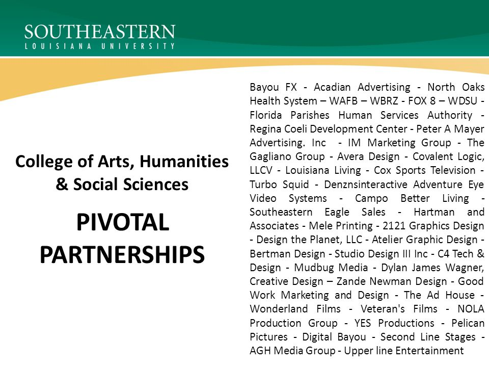 PIVOTAL PARTNERSHIPS College of Arts, Humanities & Social Sciences Bayou FX - Acadian Advertising - North Oaks Health System – WAFB – WBRZ - FOX 8 – WDSU - Florida Parishes Human Services Authority - Regina Coeli Development Center - Peter A Mayer Advertising.