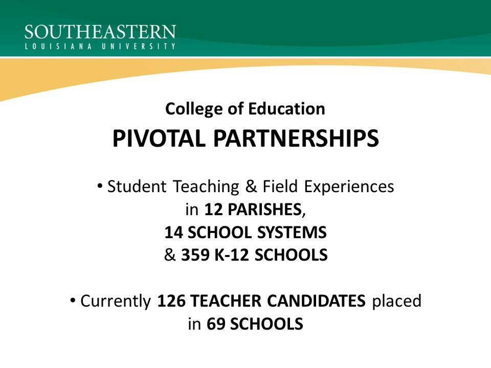 PIVOTAL PARTNERSHIPS College of Education Student Teaching & Field Experiences in 12 PARISHES, 14 SCHOOL SYSTEMS & 359 K-12 SCHOOLS Currently 126 TEACHER CANDIDATES placed in 69 SCHOOLS