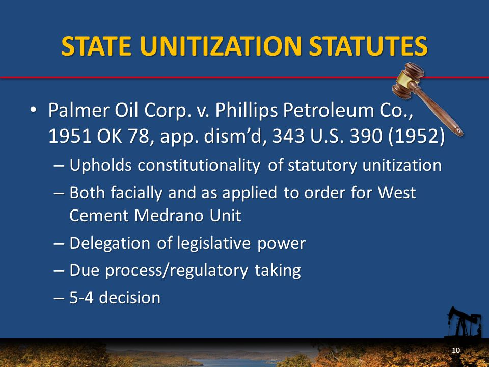 STATE UNITIZATION STATUTES Palmer Oil Corp. v. Phillips Petroleum Co., 1951 OK 78, app.