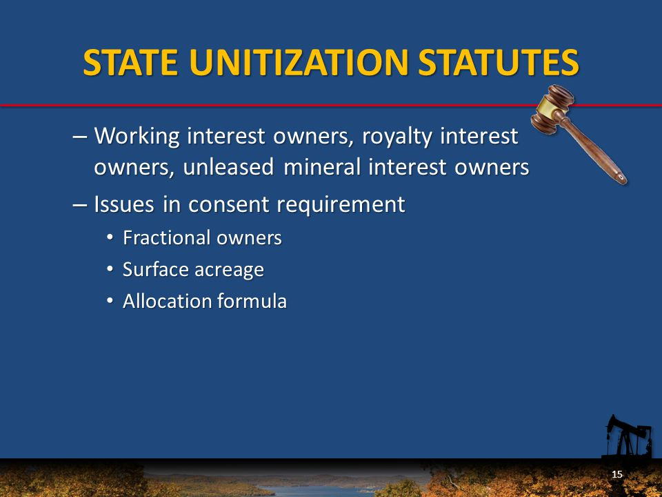 – Working interest owners, royalty interest owners, unleased mineral interest owners – Issues in consent requirement Fractional owners Fractional owners Surface acreage Surface acreage Allocation formula Allocation formula 15 STATE UNITIZATION STATUTES