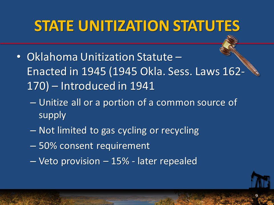 STATE UNITIZATION STATUTES Palmer Oil Corp.v. Phillips Petroleum Co., 1951 OK 78, app.