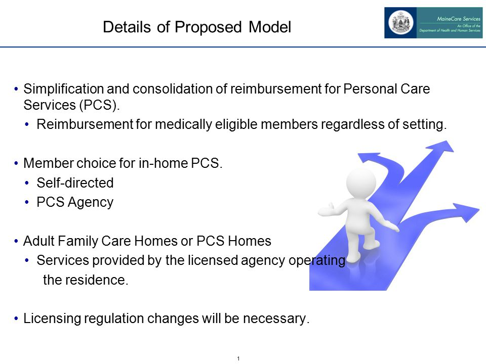 1 Details of Proposed Model Simplification and consolidation of reimbursement for Personal Care Services (PCS).