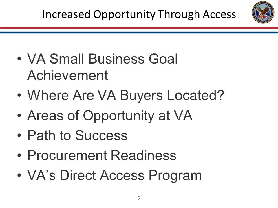 VA Small Business Achievement VA is committed to providing opportunities for all Small Business. 3