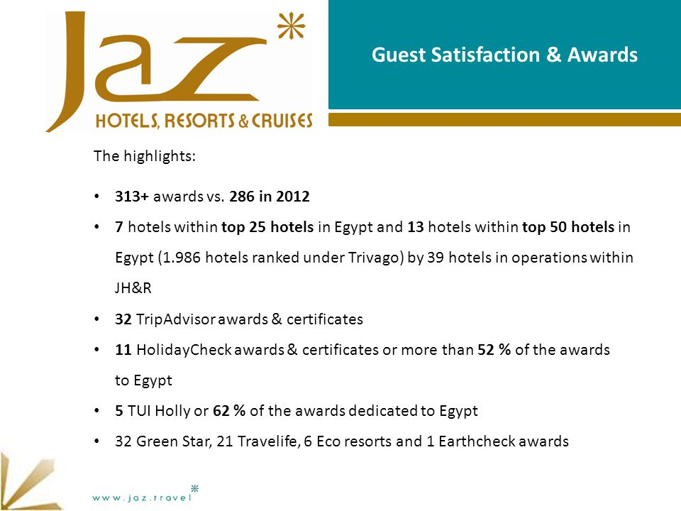 Guest Satisfaction & Awards The highlights: 313+ awards vs.