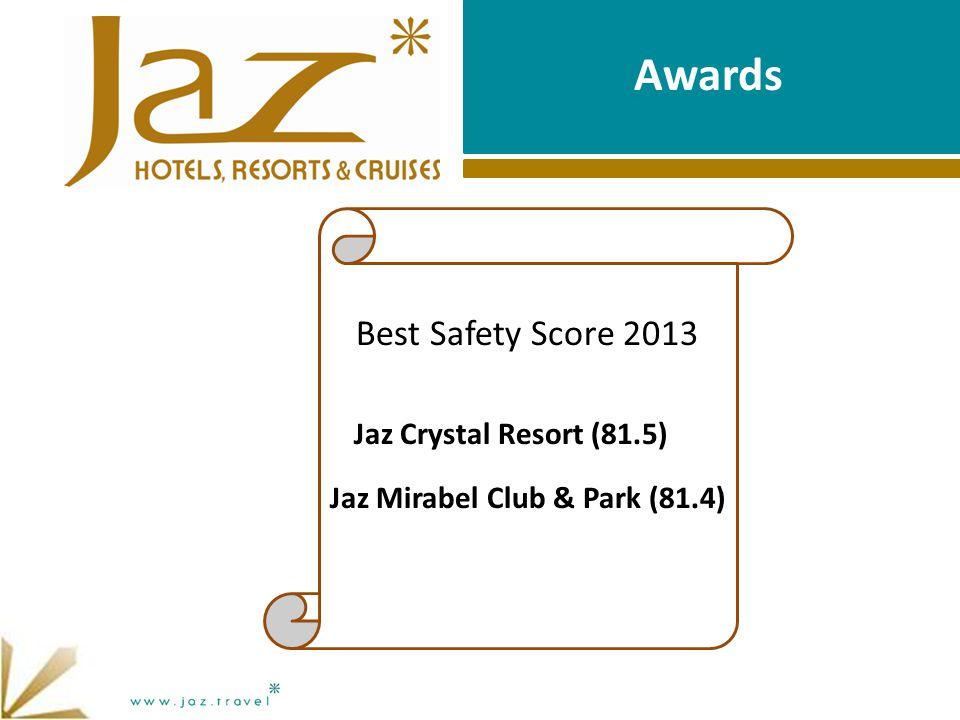 Awards Best Safety Score 2013 Jaz Crystal Resort (81.5) Jaz Mirabel Club & Park (81.4)