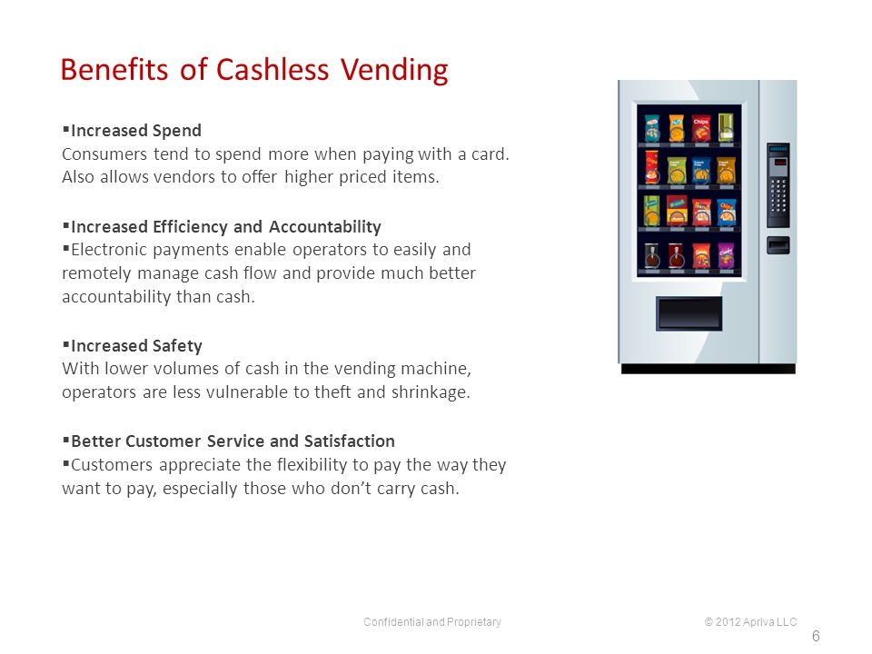 Confidential and Proprietary © 2012 Apriva LLC 6 Benefits of Cashless Vending  Increased Spend Consumers tend to spend more when paying with a card.