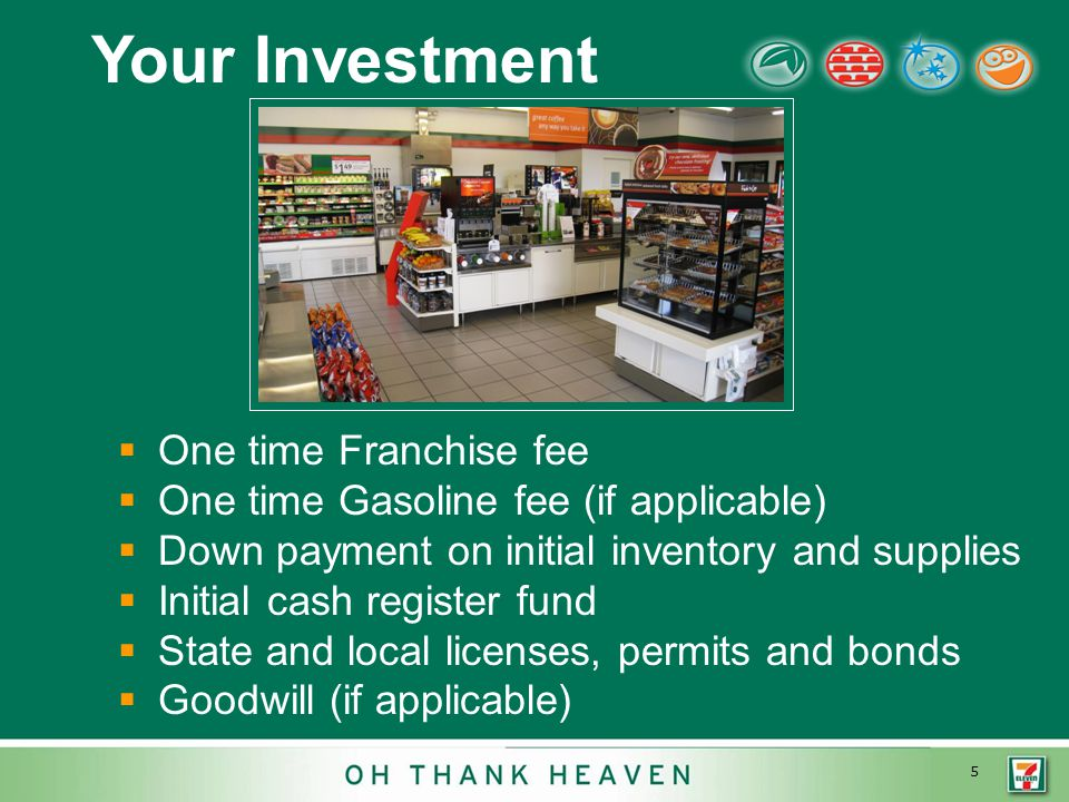 5 Your Investment  One time Franchise fee  One time Gasoline fee (if applicable)  Down payment on initial inventory and supplies  Initial cash register fund  State and local licenses, permits and bonds  Goodwill (if applicable)