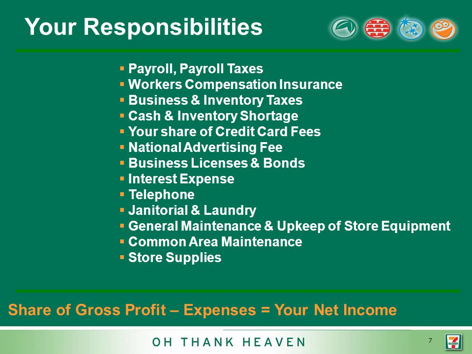 7 Your Responsibilities  Payroll, Payroll Taxes  Workers Compensation Insurance  Business & Inventory Taxes  Cash & Inventory Shortage  Your share of Credit Card Fees  National Advertising Fee  Business Licenses & Bonds  Interest Expense  Telephone  Janitorial & Laundry  General Maintenance & Upkeep of Store Equipment  Common Area Maintenance  Store Supplies Share of Gross Profit – Expenses = Your Net Income