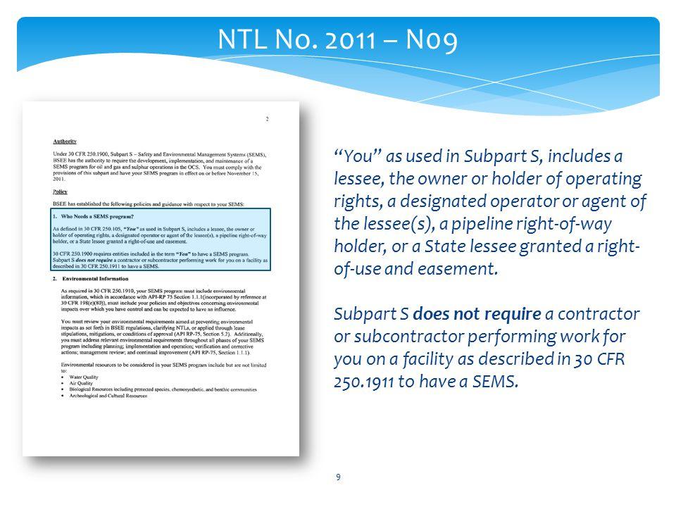 9 NTL No.