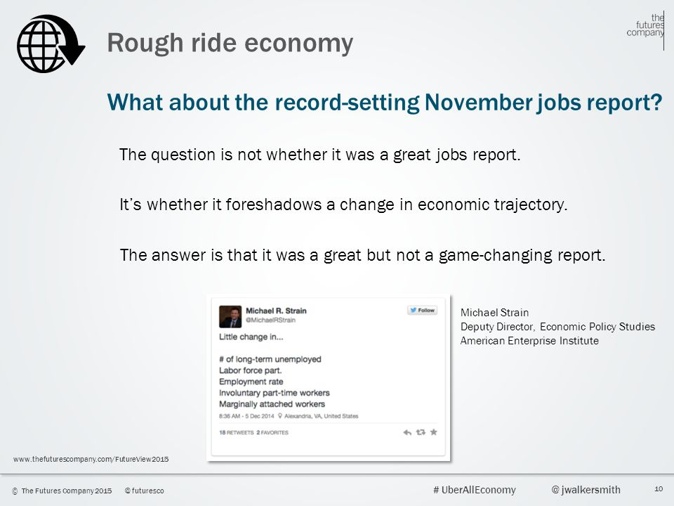 10 © The Futures Company 2015@ futuresco # UberAllEconomy@ jwalkersmith www.thefuturescompany.com/FutureView2015 Rough ride economy What about the rec