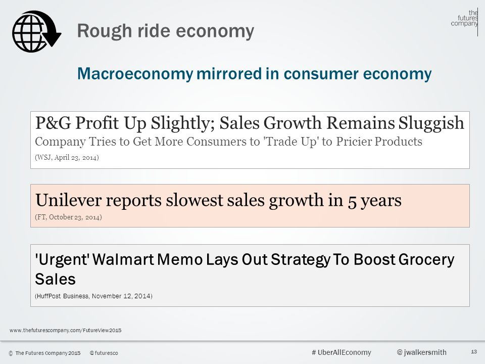 13 © The Futures Company 2015@ futuresco # UberAllEconomy@ jwalkersmith www.thefuturescompany.com/FutureView2015 Rough ride economy Macroeconomy mirrored in consumer economy P&G Profit Up Slightly; Sales Growth Remains Sluggish Company Tries to Get More Consumers to Trade Up to Pricier Products (WSJ, April 23, 2014) Unilever reports slowest sales growth in 5 years (FT, October 23, 2014) Urgent Walmart Memo Lays Out Strategy To Boost Grocery Sales (HuffPost Business, November 12, 2014)