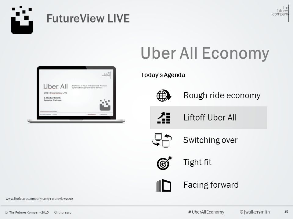 15 © The Futures Company 2015@ futuresco # UberAllEconomy@ jwalkersmith www.thefuturescompany.com/FutureView2015 FutureView LIVE Uber All Economy Roug
