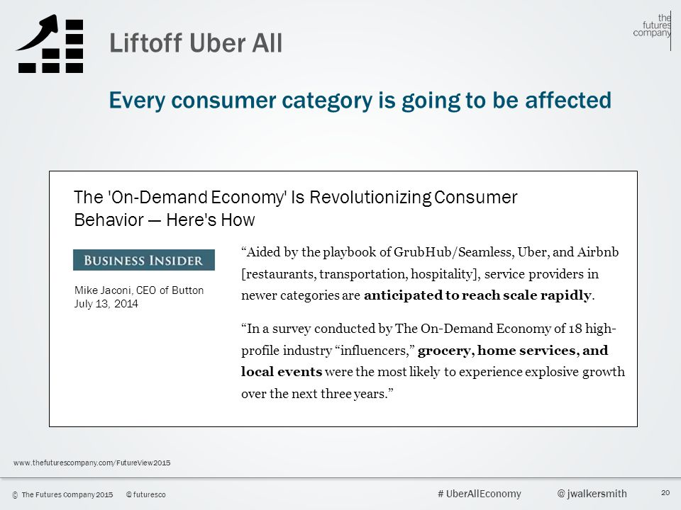 20 © The Futures Company 2015@ futuresco # UberAllEconomy@ jwalkersmith www.thefuturescompany.com/FutureView2015 Liftoff Uber All Every consumer categ