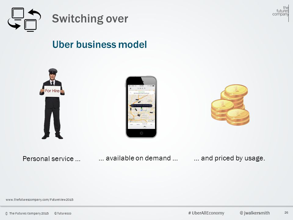 26 © The Futures Company 2015@ futuresco # UberAllEconomy@ jwalkersmith www.thefuturescompany.com/FutureView2015 Switching over Uber business model Pe