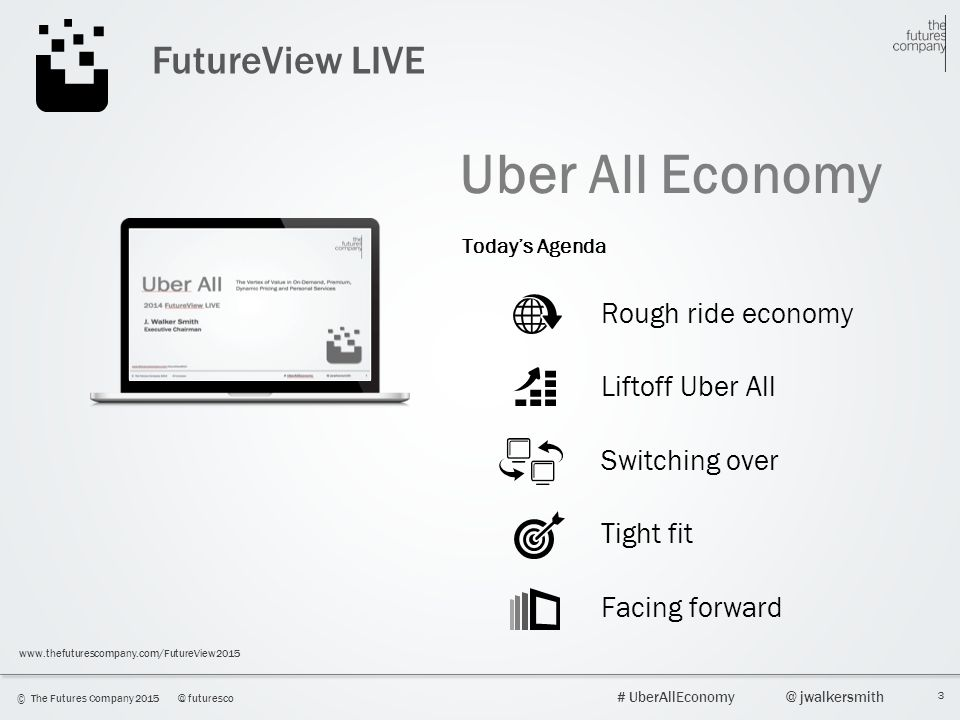 3 © The Futures Company 2015@ futuresco # UberAllEconomy@ jwalkersmith www.thefuturescompany.com/FutureView2015 FutureView LIVE Uber All Economy Today