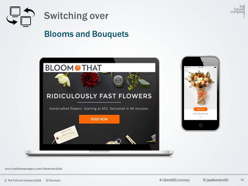 31 © The Futures Company 2015@ futuresco # UberAllEconomy@ jwalkersmith www.thefuturescompany.com/FutureView2015 Switching over Blooms and Bouquets