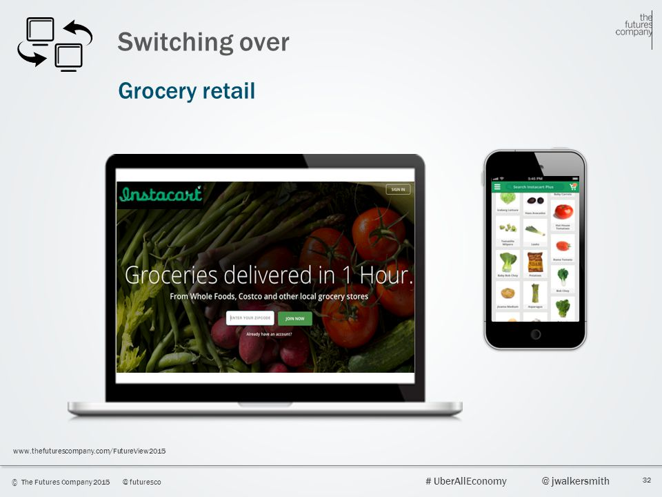 32 © The Futures Company 2015@ futuresco # UberAllEconomy@ jwalkersmith www.thefuturescompany.com/FutureView2015 Switching over Grocery retail