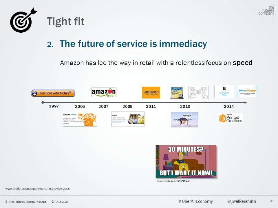 38 © The Futures Company 2015@ futuresco # UberAllEconomy@ jwalkersmith www.thefuturescompany.com/FutureView2015 Tight fit 2. The future of service is