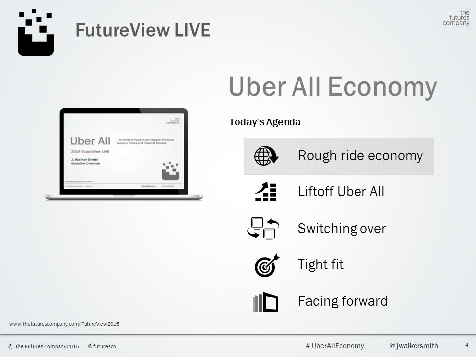 4 © The Futures Company 2015@ futuresco # UberAllEconomy@ jwalkersmith www.thefuturescompany.com/FutureView2015 FutureView LIVE Uber All Economy Rough