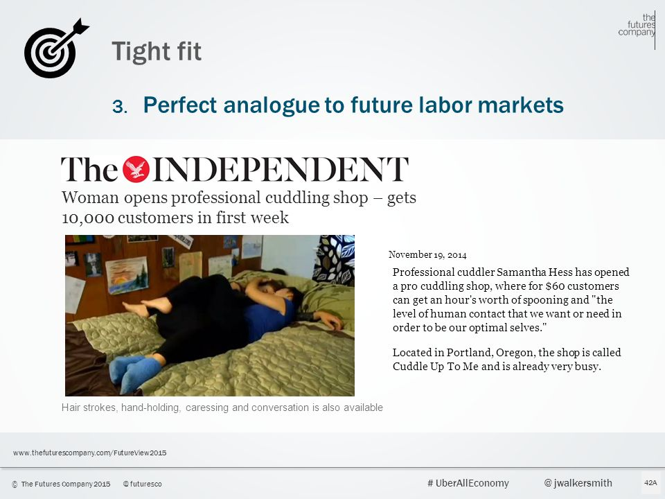 43 © The Futures Company 2015@ futuresco # UberAllEconomy@ jwalkersmith www.thefuturescompany.com/FutureView2015 Tight fit 3. Perfect analogue to futu