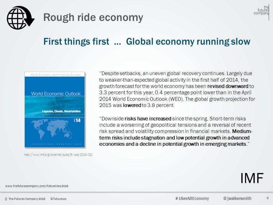 5 © The Futures Company 2015@ futuresco # UberAllEconomy@ jwalkersmith www.thefuturescompany.com/FutureView2015 Rough ride economy Despite setbacks, an uneven global recovery continues.