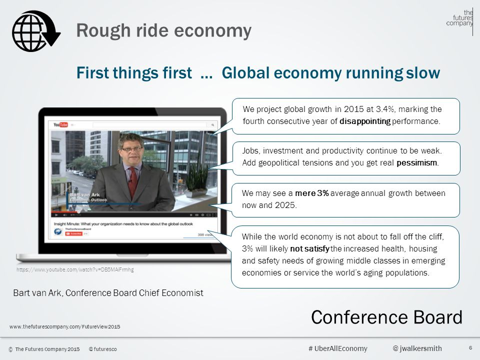 6 © The Futures Company 2015@ futuresco # UberAllEconomy@ jwalkersmith www.thefuturescompany.com/FutureView2015 https://www.youtube.com/watch?v=DB5MAiFrmhg Rough ride economy Conference Board First things first … Global economy running slow We project global growth in 2015 at 3.4%, marking the fourth consecutive year of disappointing performance.