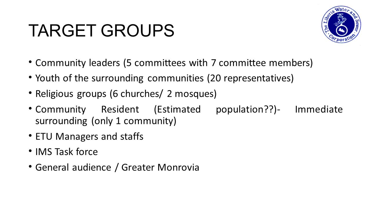 TARGET GROUPS Community leaders (5 committees with 7 committee members) Youth of the surrounding communities (20 representatives) Religious groups (6