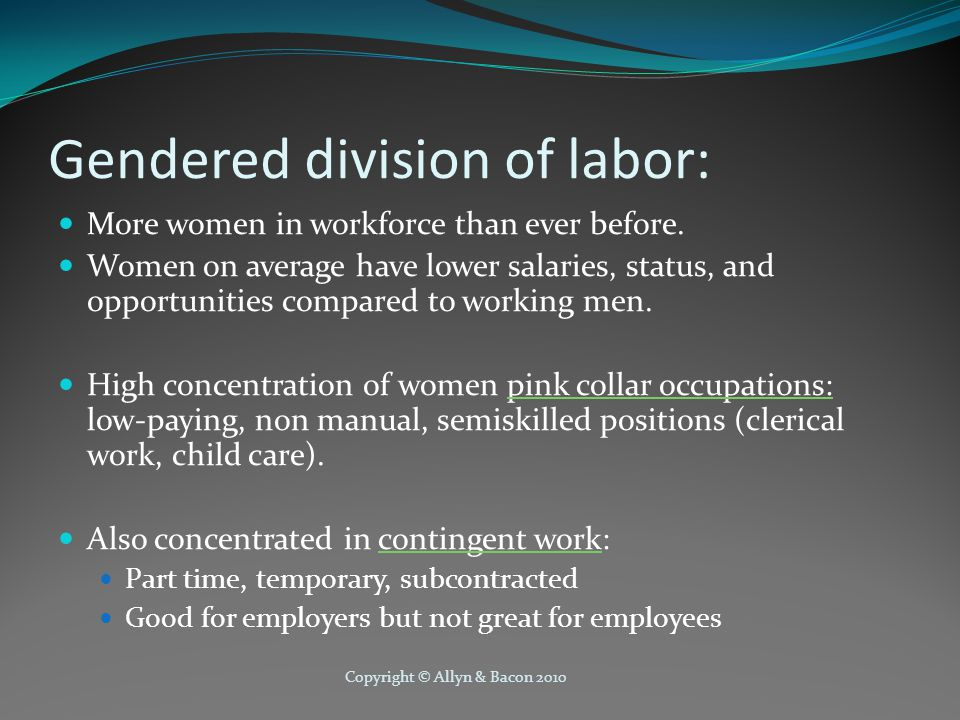 Copyright © Allyn & Bacon 2010 Gendered division of labor: More women in workforce than ever before.